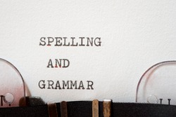 Spelling and grammar phrase written with a typewriter.