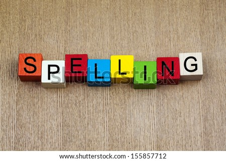Spelling - education terms sign series