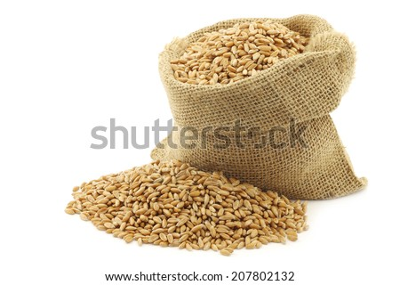 spelt in a burlap bag on a white background #207802132