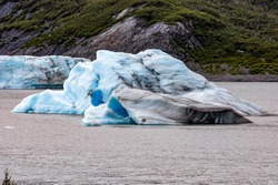 Spencer Glacier and icebergs of Alaska in fall tourist destination overlook