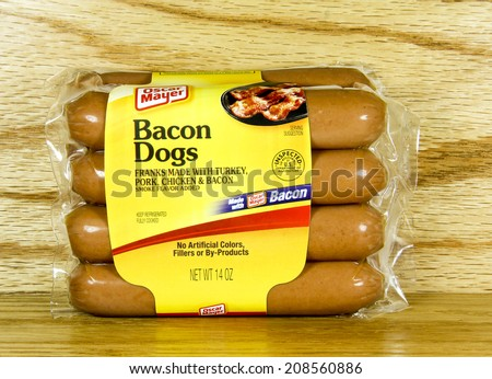 SPENCER , WISCONSIN Aug. 2 , 2014:  package of Oscar Mayer Bacon Dogs. Oscar Mayer is a meat production company founded in 1900
