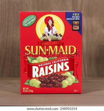 SPENCER , WISCONSIN, February, 01, 2015  Box of Sun-Maid Raisins. Sun-Maid was founded in California in 1912