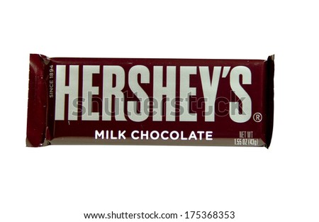 SPENCER , WISCONSIN-February 7, 2014 : Hershey's Candy Bar. Hershey's was founded in  1894 and is the largest chocolate manufacturer in North America.
