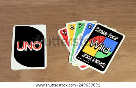 SPENCER , WISCONSIN,  February, 03, 2015   UNO cards from the game showing front and back of cards. UNO is an American card game founded and invented in 1971