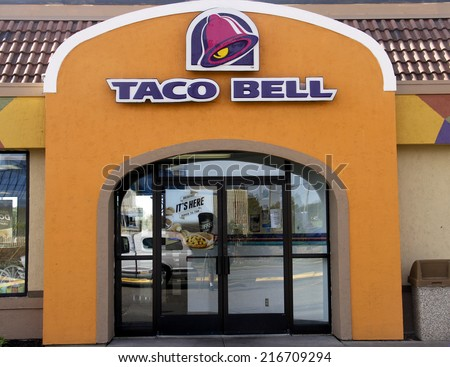SPENCER , WISCONSIN Sept.12 , 2014:  Taco Bell sign on the front of a store. Taco Bell is an American fast food chain of stores.