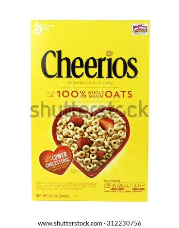 SPENCER , WISCONSIN, September, 1,  2015   Box of  Cheerios Cereal  Cheerios is manufactured by General Mills Company an American Company founded in 1866