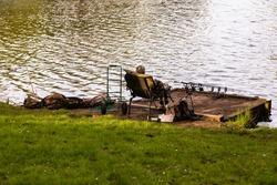 Spending free time at lake fishing