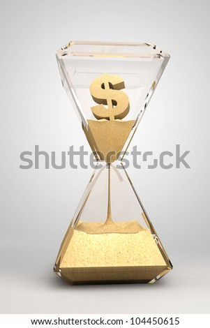 spending money - hourglass, sandglass, sand timer, sand clock with dollar sign