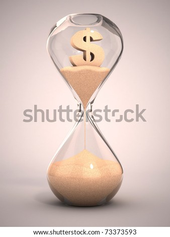 spending money or out of money concept - hourglass, sandglass, sand timer, sand clock with dollar sign shaped sand 3d illustration