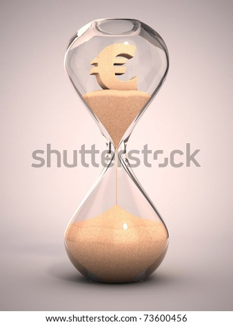 spending money or out of money concept - hourglass, sandglass, sand timer, sand clock with euro sign shaped sand 3d illustration