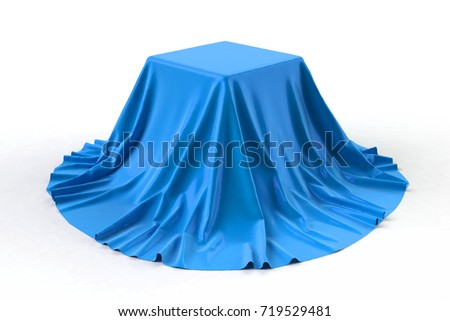 Sphere covered with bright blue silk fabric isolated on white background. Surprise sale, award, prize, presentation concept. Reveal the hidden object, raise the curtain. 3D illustration. Stockfoto ©