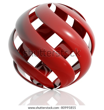 Sphere created of spiral elements isolated on white background. 3d illustration.