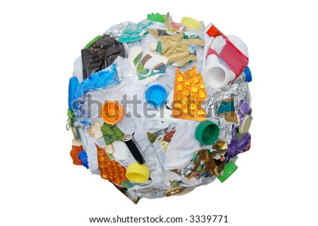 Sphere formed from assorted domestic waste over white