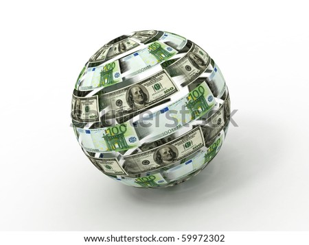Sphere from dollar and euro. 3d