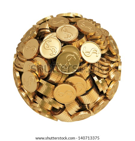 sphere from gold coins.