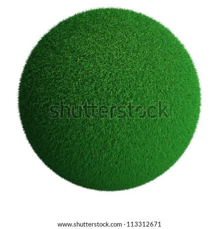 Sphere from green grass isolated at white background - stock photo