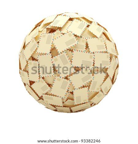 Sphere from paper envelopes. Letters. 3d illustration isolated on white