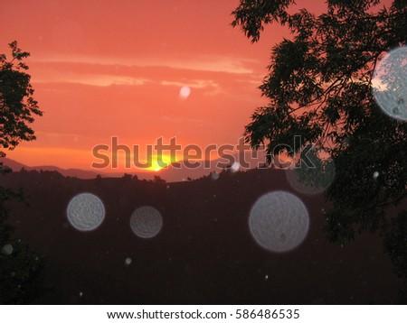 Sphere-light balls-entities orbs at the sunrise #586486535