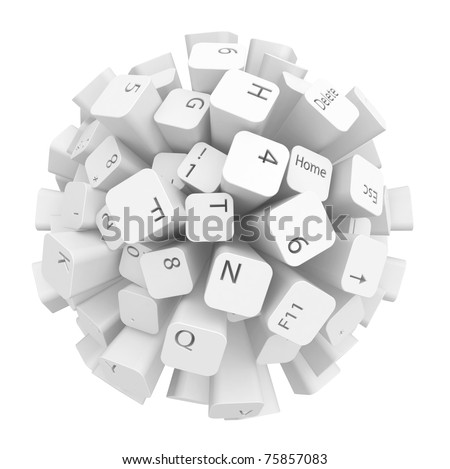 Sphere made of computer keyboard keys, over white, isolated - stock photo