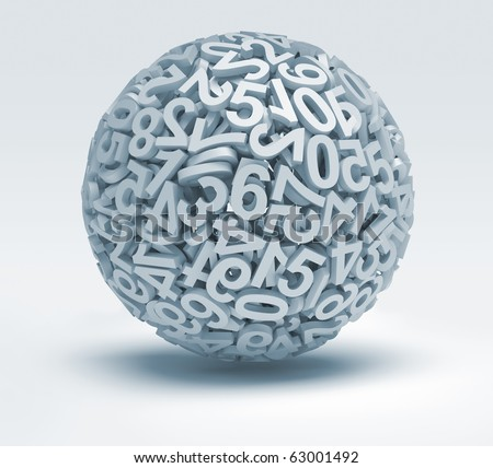 Sphere made of numbers - 3d render illustration