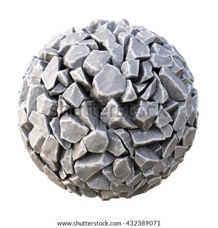 sphere made of stones. isolated on white background. 3D illustration.
