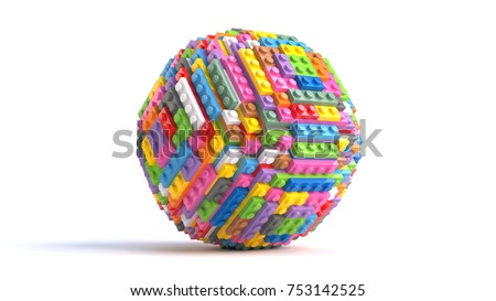 Sphere of colored toy bricks on white background. 3D Rendering.