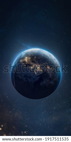 Sphere of night Earth planet in outer space. City lights on planet. Sci-fi vertical wallpaper. Solar system element. Elements of this image furnished by NASA