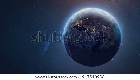 Sphere of nightly Earth planet in outer space. City lights on planet. Life of people. Solar system element. Elements of this image furnished by NASA