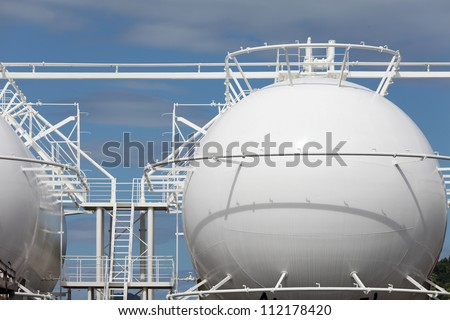 Sphere storage tank in a refinery plant