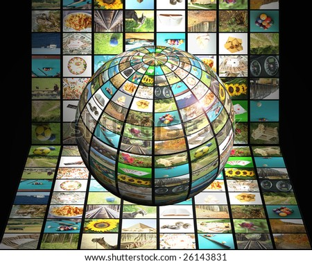 Sphere with many pictures in front of digital television screen, modern  television concept