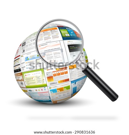 Sphere with web design template imprints and magnifying glass. Search engine, SEO and Design Templates for your web design marketing.