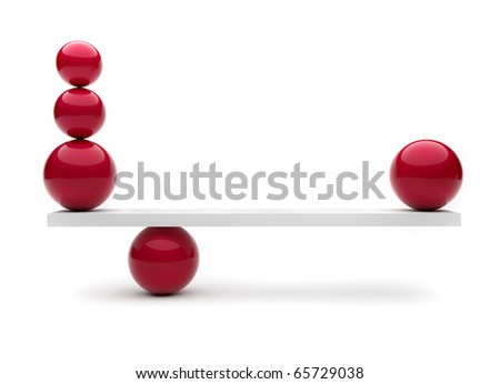 Spheres in balance - this is a 3d render illustration