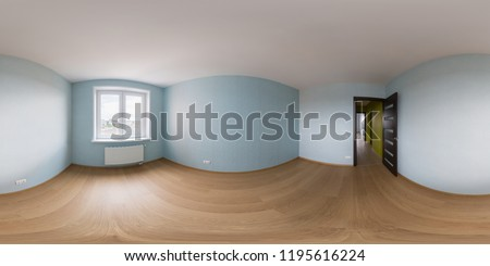 Spherical, 360 degrees, full seamless panorama of the empty second bedroom in a brand new apartment
