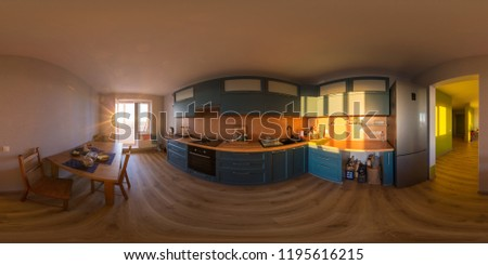 Spherical, 360 degrees, full seamless panorama of the kitchen with usual utensil in a brand new apartment highlighted by warm sunset light