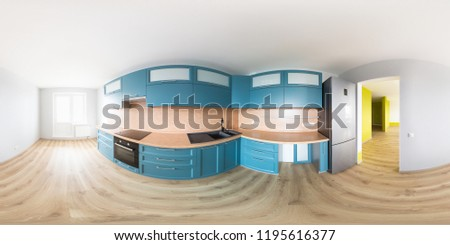 Spherical, 360 degrees, full seamless panorama of the new never used kitchen in a brand new apartment