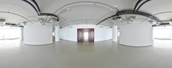Spherical 360 degrees panorama projection, interior empty room in modern flat apartments