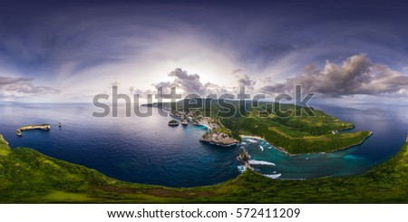 Spherical, 360 degrees, seamless, aerial panorama of the coastline of the island of Nusa Penida, Bali, Indonesia