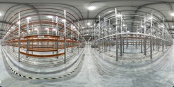 Spherical panorama 360 degree of empty warehouse with metal construction. Rack stack. Distribution storehouse. Storage equipment.