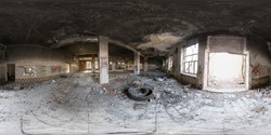 Spherical panorama 360 degrees inside old abandoned building with columns and boarded up windows. VR content.