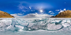 spherical panorama of 360 degrees,180 degrees Baikal ice hummocks in Olkhon Island. vr content