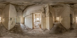 Spherical panorama of 360 degrees in common corridor with doorways inside an abandoned old building, maze. VR games content.