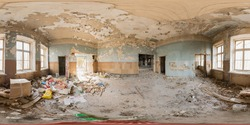 Spherical panorama of 360 degrees in shabby room with trash on floor in abandoned old building. VR content.