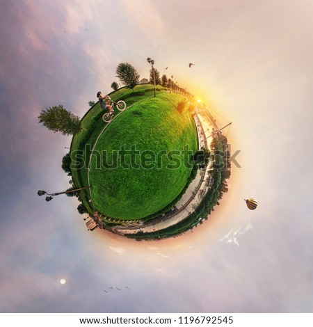 Spherical panorama of the city, little planet #1196792545
