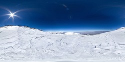 Spherical panorama of the Pamir mountain. Slope of Lenin Peak to an altitude of 7050 meters. Spherical panorama 360 degrees 180 Mountain hiker to climb a mountain of snow couloir.