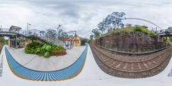 Spherical 360 panoramic photograph of the train station in Glenbrook in The Blue Mountains in regional New South Wales in Australia
