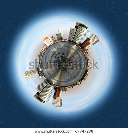 Spherical planet with a corporate and office theme, evolving around a big sea, with tall office buildings and smaller warehouses lining the horizon