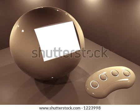 Spherical screen for multimedia presentations - brown tonation