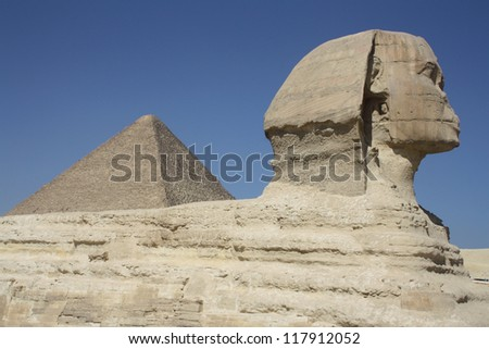 Sphinx and Pyramid, Giza, Cairo, Egypt