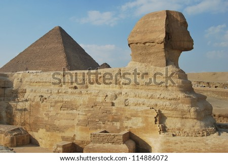 Sphinx and the Pyramid of Pharaoh Khufu. Egypt