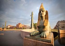 Sphinx chimera on Egyptian Bridge over Fontanka River in Saint-Petersburg, Russia